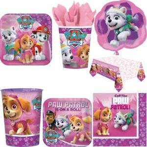 paw patrol hunde kindergeburtstag dekoration pink party deko set m dchen feier ebay. Black Bedroom Furniture Sets. Home Design Ideas