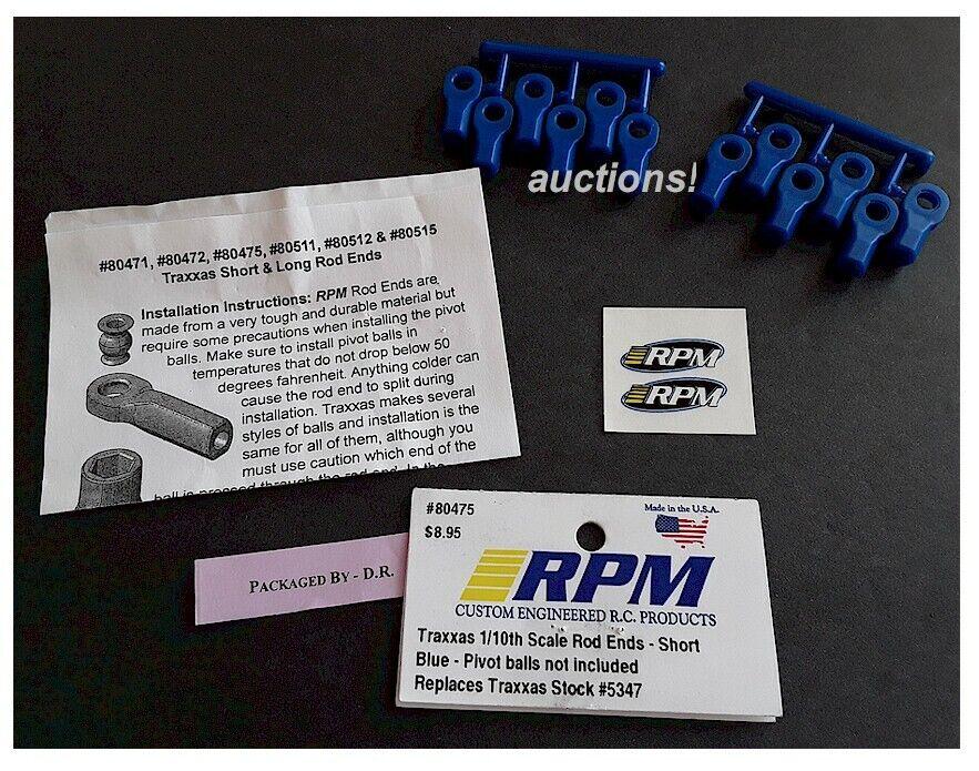 New RPM 1//10 Slash Summit Revo Slayer For Traxxas #5347 Short Rod Ends Blue 8...