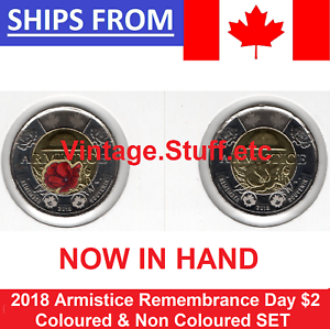 2018-Canada-Armistice-2-Coloured-amp-No-Color-Toonie-Poppy-UNC-BU-SET-from-Roll