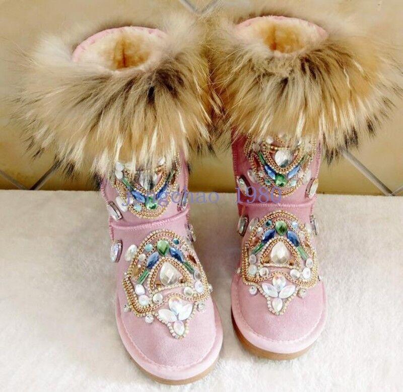 Lujo Mujeres De Piel Para Para Para Invierno Grueso Caliente De La Rodilla Nieve botas Zapatos De Estrás a mitad de la pantorrilla  Venta barata
