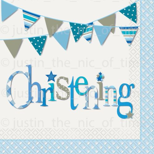 Blue Christening Boys Party Paper Tableware Religious Supplies Boy