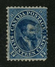 Canada 1859 Cents 17c blue 'Major Reentry' #19ii used
