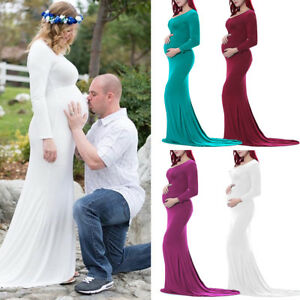 Women Evening Dress Maternity Gown Long Sleeve Wedding Party Baby