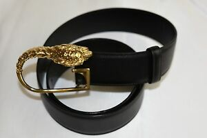 Details about NEW GUCCI Black Leather Belt Headed Lion Gold Buckle G 30