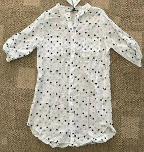 Angela-Mara-Womens-3-4-Sleeve-Tunic-Top-White-Navy-Polka-Dot-Size-Small-S