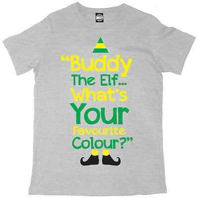 362 Buddy the Elf whats your favorite color mens T-shirt christmas movie funny
