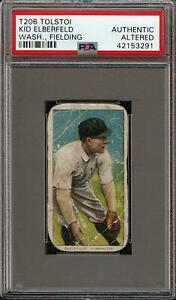 Rare 1909-11 T206 Kid Elberfeld Fielding Tolstoi Back Washington PSA Authentic