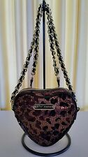 Betsey Johnson Leopard Print Sequin Heart Shaped Chain Strap Crossbody bag purse