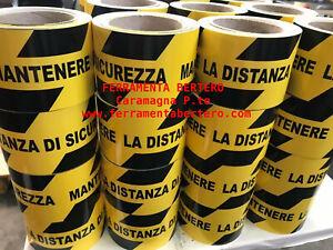 NASTRO-ADESIVO-BIANCO-E-NERO-DELIMITA-DISTANZA-CALPESTABILE-30-metri-h-75
