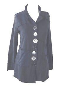 Neon-Buddha-Women-039-s-Small-Jacket-Sweatshirt-Coat-Wearable-Art-Buttons-Black
