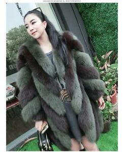 Fox-Fur-Chic-Women-039-s-Fur-Overcoat-Fox-Fur-Jacket-Winter-Warm-Long-Coat-Outwear