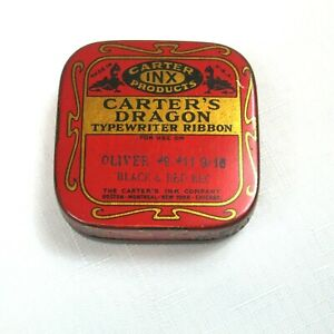 Vintage 1940s Carter's Dragon Typewriter Ribbon Tin, Carter's Ink Company RARE!