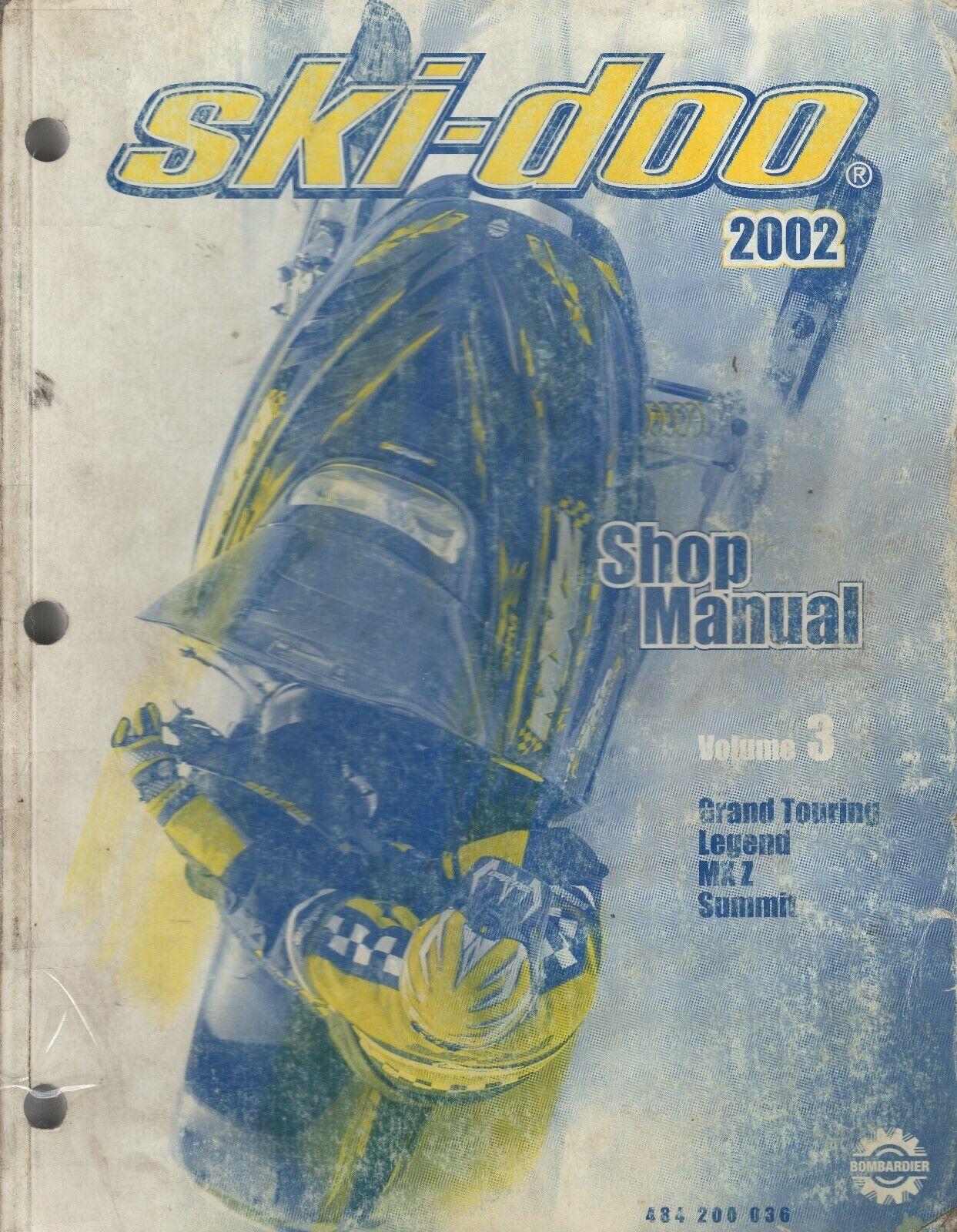 2002 SKI-DOO SNOWMOBILE VOLUME 3, (SEE COVER LIST) SHOP MANUAL 484 200 036 (613)