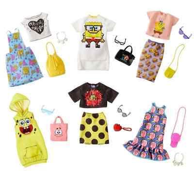 NEW Barbie SPONGE BOB SQUARE PANTS 6 PIECE SET Fashion Pack TOPS