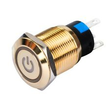 19mm Self Lock Momentary Gold Plated Brass Push Button Light Switch Lamp Power