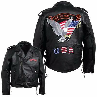 S ~7XL leather motorcycle vest jacket eagle live to ride for NEW big size
