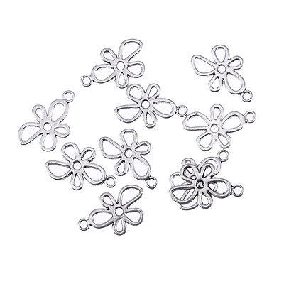 Flower Tibetan Silver Bead charms Pendants fit bracelet 10pcs 20*13mm