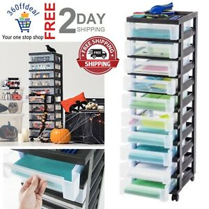 Black 4-Drawer Rolling Storage Cart with Organizer Top New