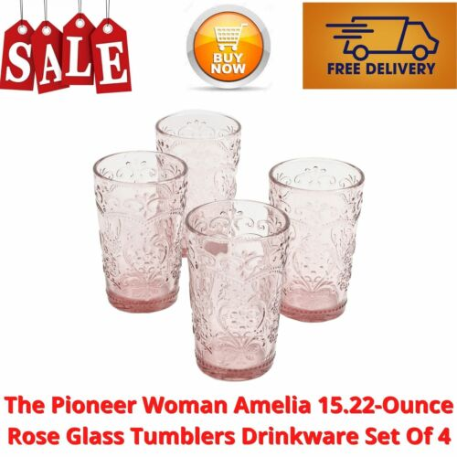 The Pioneer Woman Amelia 15.22-Ounce Rose Glass Tumblers Drinkware Set Of 4