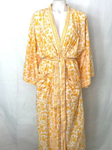 Vintage ANOKHI Retro 70s Yellow Floral Printed Cot