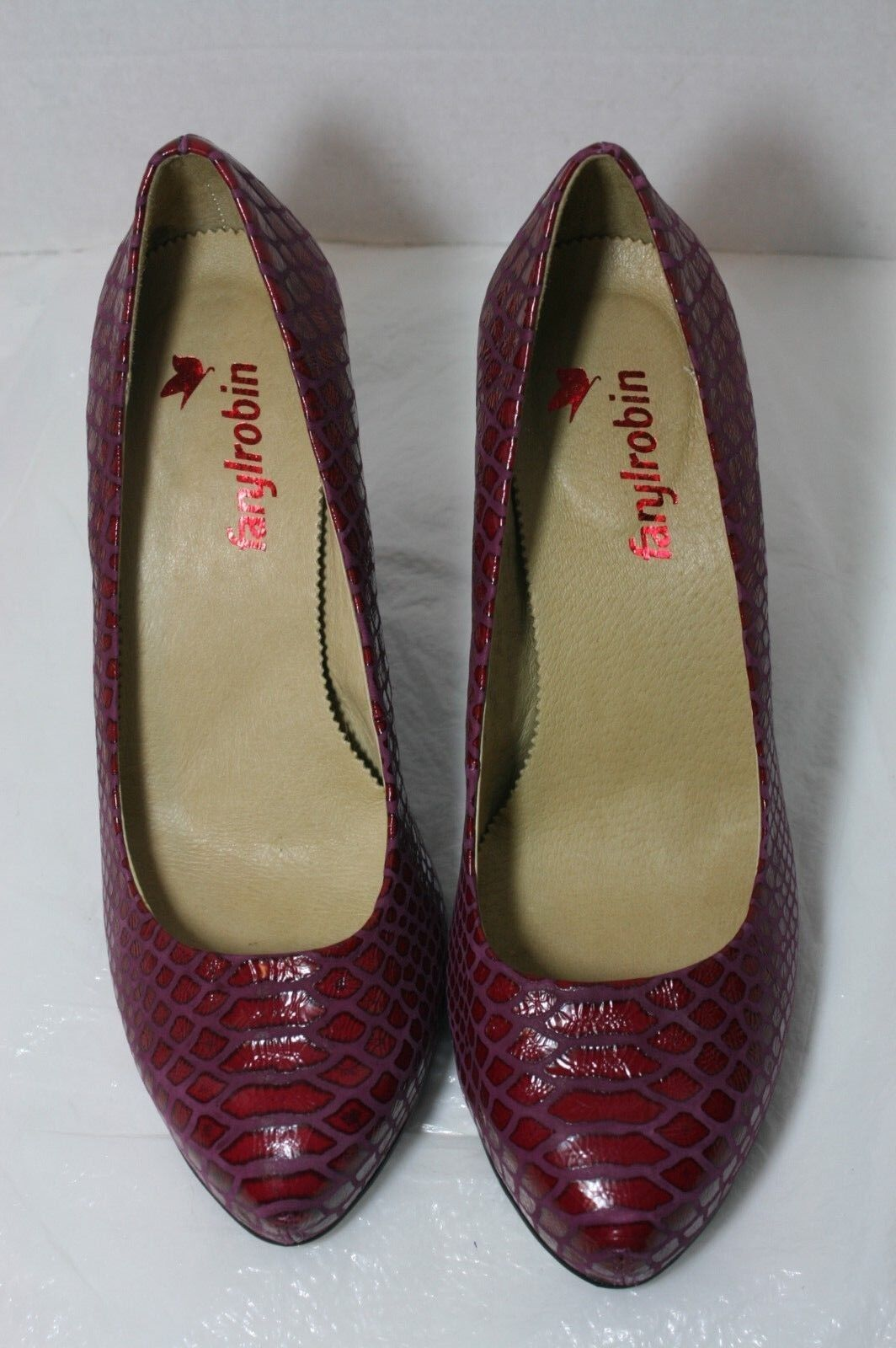 FARYL PLATFORM ROBIN 'QUALITY' SNAKE EFFECT LEATHER PLATFORM FARYL PUMP RED HEELS 8  209 54d2fc