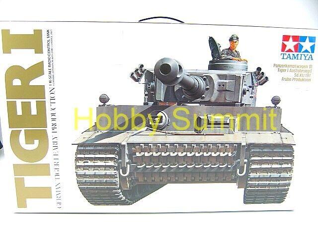 Tamiya 1 16  R C  GERuomo TIGER I  Tank Kit  WWII w  DMD MF Unit     56010  NIB    una marca di lusso