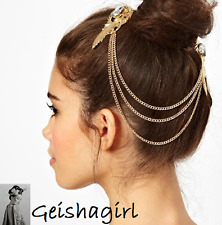 Crystal Feather Metal Clip Pin Cuff Hair Chain Brooch Head Band Piece UK Seller