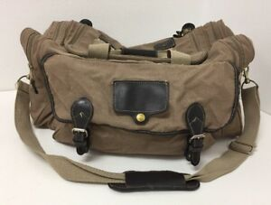 Details About Vintage Ed Bauer Ford Carry On Duffel Bag Travel Luggage Tan Canvas Leather