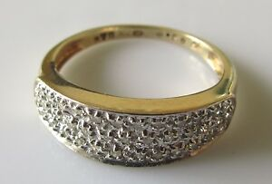 Secondhand-9ct-Yellow-Gold-Diamond-Cluster-Half-Band-Ring-Size-O-1-2