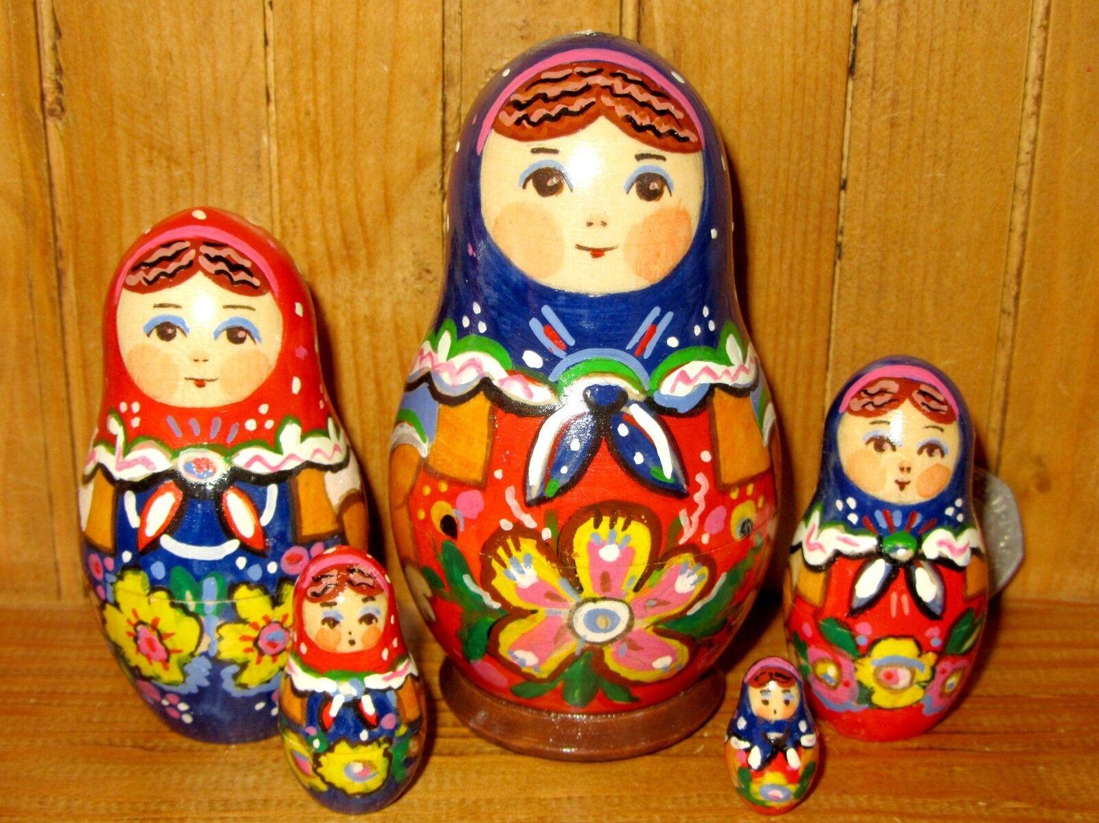 Babushka nesting dolls Russian Matryoshka Small 5 HAND PAINTED Signed RYABOVA