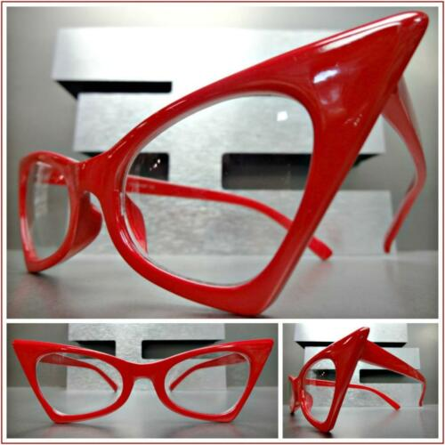 CLASSIC VINTAGE RETRO EXAGGERATED CAT EYE Style Clear Lens EYE GLASSES 5 Colors