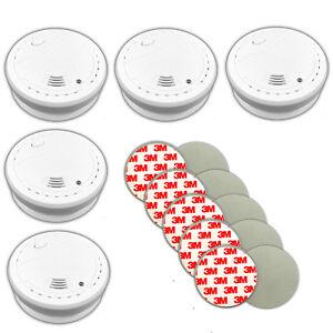 5x-Rauchmelder-mit-10-Jahre-Lithium-Batterien-und-Magnet-Halterungen-Feuermelder