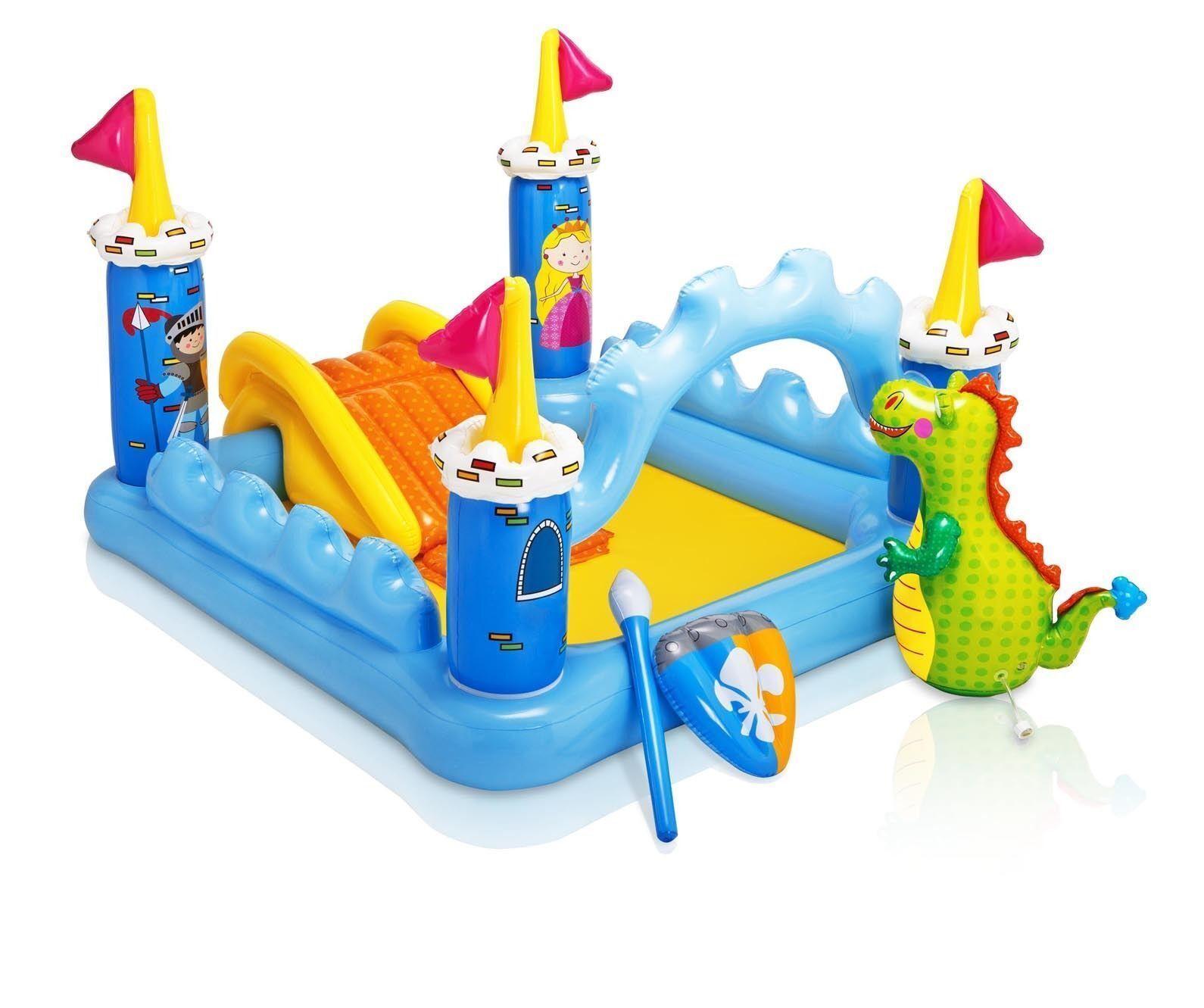 INTEX 57138 Castello gonfiabile per bambini con scivolo drago scudo