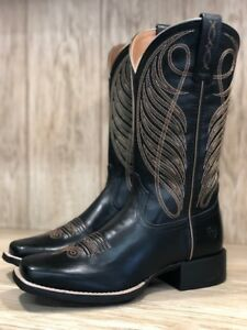 a4db55da0c2 Details about Ariat Women's Round Up Limousin Black Wide Square Toe Western  Boots 10018529