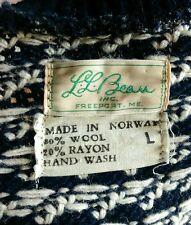 Original Vtg 50s LL BEAN Birds Eye RAYON Wool Norwegian Fisherman Sweater L Ski