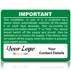 Extra Large Personalised RCD Test Labels in Full Colour Green