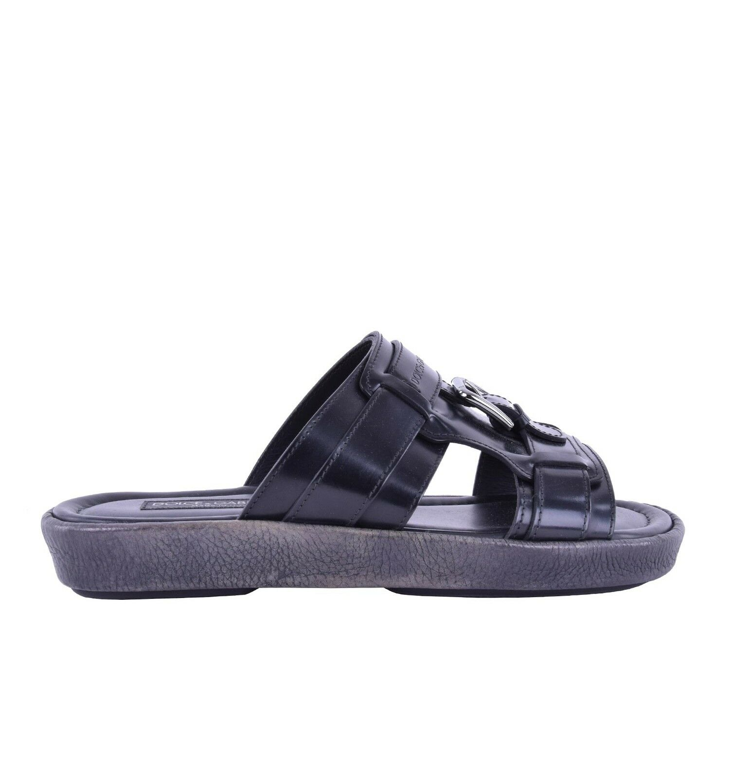 DOLCE & GABBANA Sandals MEDITERRANEO with Logo & Buckle Black Gray Shoes 05222