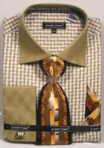 Men-039-s-Avanti-Uomo-Olive-Gingham-Zig-Zag-Plaid-Print-Dress-Shirt-Tie-Hanky-DN76M