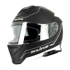 Casque-Moto-scooter-Modulable-Sifam-S550-Noir-Blanc-MAT-Double-visiere-Pinlock