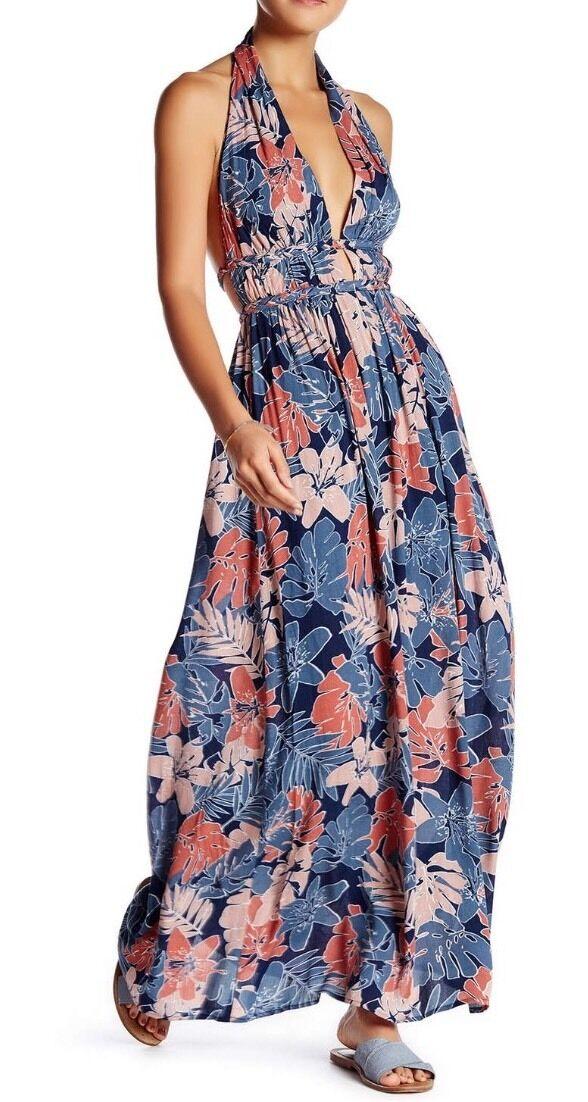 NWT Meghan LA Oahu Halter Halter Halter Maxi Dress L  338 55f710