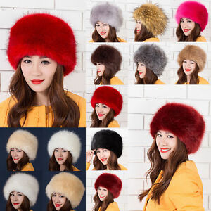 b4293af9 2018 Ladies Warm Furry Faux Fox Fur Hat Russian Women Winter Cossack ...
