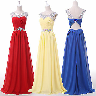Cheap Sexy Chiffon Beaded Red Bridesmaid Dress Prom Evening Cocktail Party Gown