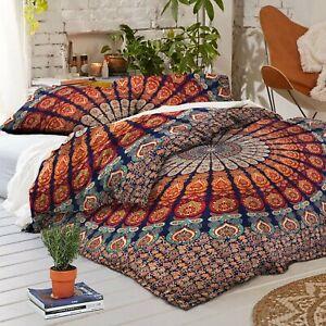 Handmade-Cotton-Quilt-Peacock-Mandala-Bedspread-Throw-Boho-Doona-Duvet-Cover-Set