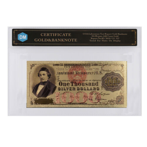 1000 Dollar American Colorful 24k Gold Banknote Gold Foil Money Collectibles