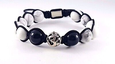 "925 Sterling Silver Ohm Symbol Black Shamballa Bracelet Adjustable 6/""-9/"""