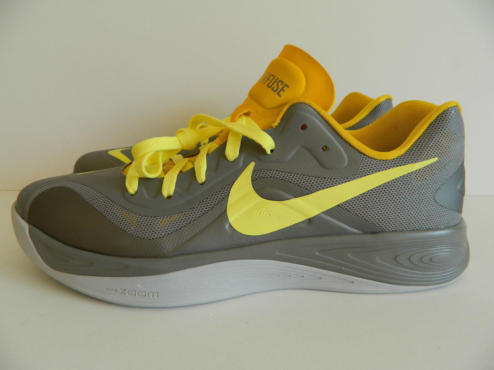 Nike Hyperfuse Low ( Sprt Grey Electrc Yellow-Strt Grey ) ( 555034 001 ) NIB