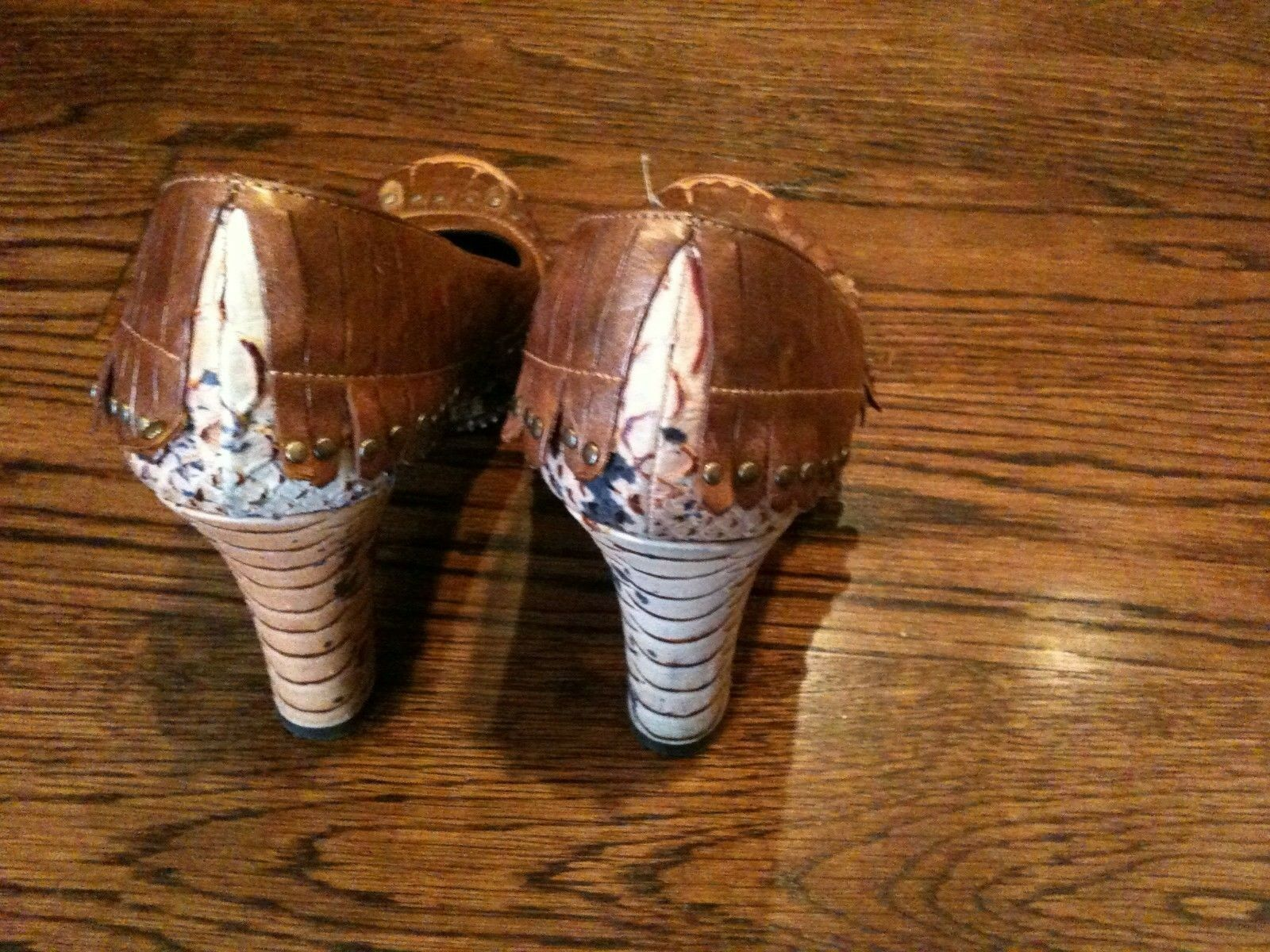 ISABELLA FIORE ITALY BROWN ANIMAL PRINT FRINDGED Schuhe STACKED HEEL FABULOUS