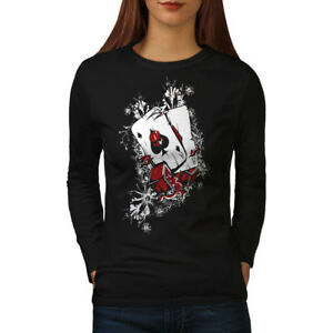 Wellcoda-POKER-POCHE-ACE-Cartes-Femme-T-shirt-a-manches-longues-DOUBLE-Casual-Design