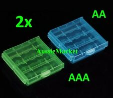 2 x AA AAA battery batteries storage case holder box hard plastic rechargeable
