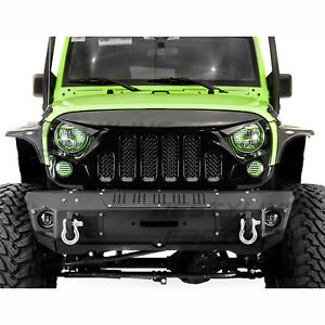 Angry-Skull-II-Gloss-Black-Replacement-Mesh-Grille-for-07-18-Jeep-Wrangler-JK